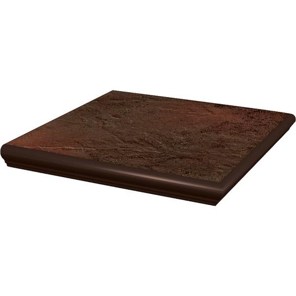 SEMIR Brown stopnica z kapinosem narożna 33x33