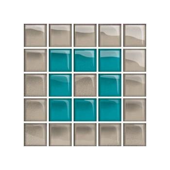 Glass Azure/Dark Beige Mosaic B New 14,8x14,8