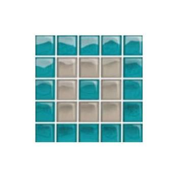 Glass Azure/Dark Beige Mosaic C New 14,8x14,8