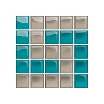 Glass Azure/Dark Beige Mosaic D New 14,8x14,8