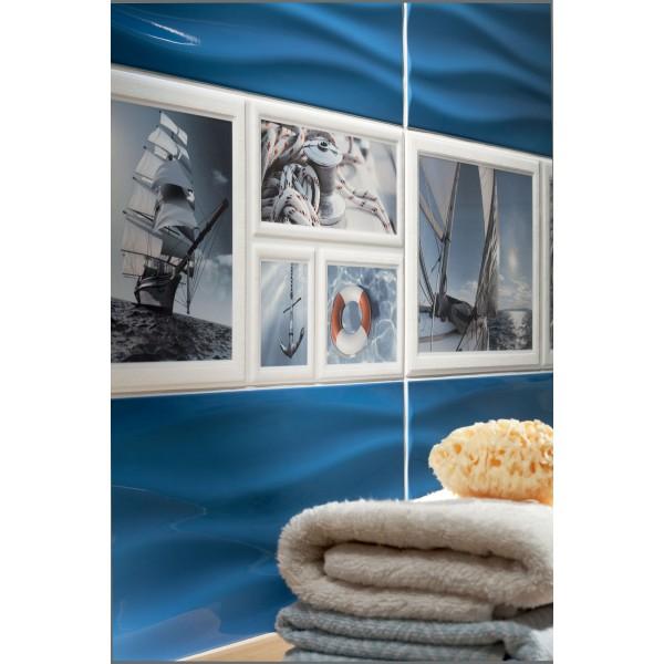 Niebieska listwa ścienna szklana 44,8 x 1,5 GAT.I