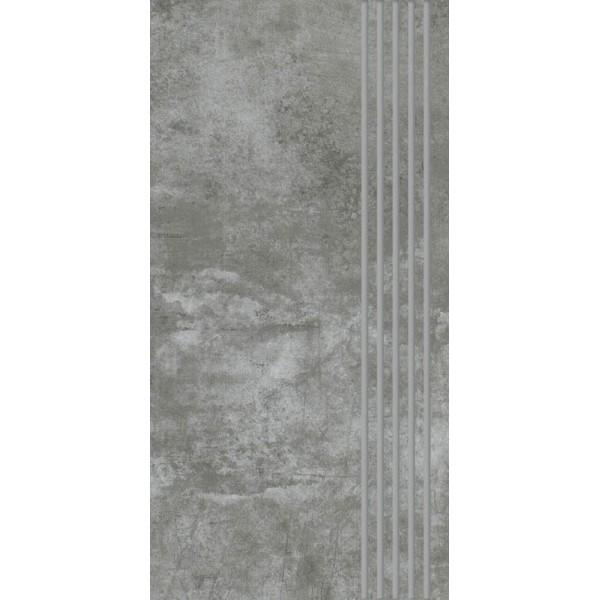 Scratch Nero Stopnica Prosta Nacinana Półpoler  29.8x59.8 GAT.I